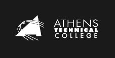 white on black athens tech logo